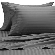 Wamsutta 500 Damask Sheet Sets, 100% Egyptian Cotton, 500 Thread Count, Charcoal Grey, Queen, $79.99