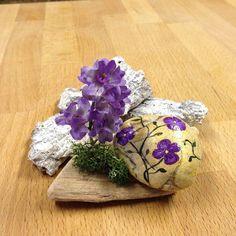 Purple Flower Hand  Painted Rock pebble Driftwood Bud Vase