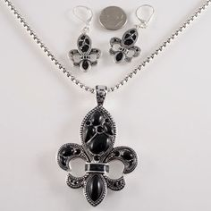NEW!  FLEUR DE LIS NECKLACE AND EARRING SET.  COMES WITH 18 INCHE CHAIN. BEAUTIFUL!!