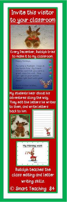 Students learn reading, writing, and editing skills, as they hear about Rudolph's adventures on his way from the North Pole to your classroom.