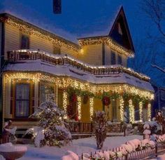 Home with Christmas lights decorations ~ made perfect with all that snow