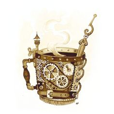 Steampunk Coffee Mug ($517) ❤ liked on Polyvore featuring home, kitchen & dining and drinkware