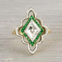 Platinum on Gold Edwardian Diamond & Emerald Engagement Ring by meerystar