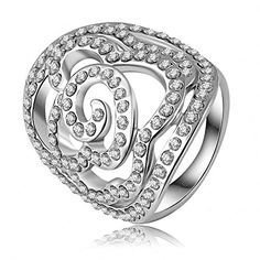 K-DESIGN New Arrival Rings Hollow Flower Ring Platinum Plating SWA Elements Austrian Crystal Princess Ring Jewelry 23*27mm Ri-HQ0237 6.5 ** Learn more by visiting the image link.