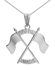 Color Guard Double Flag Necklace | Silver - ColorGuard Gifts - 1