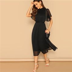 Shein Glamorous Black Mock-neck Knot Back Sheer Panel Dress 2019 Spring A Line Butterfly Sleeve Stand Collar Elegant Dresses Summer Dresses For Women, Spring Dresses, Dress Outfits, Fashion Dresses, Midi Dresses, Dress Clothes, Types Of Sleeves, Dresses With Sleeves, Panel Dress