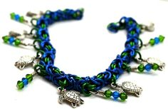 Sea Turtle with Swarovski Crystals Green and Blue Chainmaille Bracelet | SilverFireDreams - Jewelry on ArtFire