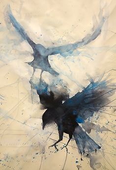 Here and there by Sarah Yeoman Watercolor Painting Art And Illustration, Vogel Illustration, Art Aquarelle, Watercolor Paintings, Watercolors, Watercolor Tattoo, Raven Art, Art Graphique, Bird Art