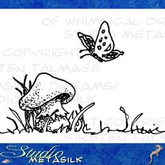 "More of my little drawings turning into printable, colorable ""digital stamps""! This is Mushroom and Butterfly  © 2016 by K Talmage (That's me!)"