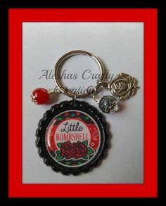 Little Bombshell Key Chain, Key Ring, Little Bombshell, Bombshell, Roses, Rose Charm, Charm, Wire Wrapped, Bottle Cap, Gifts For Her by AleshasBottleCaps on Etsy