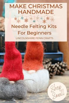 Beat the winter blues and add some creative respite to your day with a delightful gnome needle felting kit. Perfect for all seasons and a great holiday craft kit to start your needle felting journey. Makes two gnomes. £17.45 including UK postage. Worldwide shipping. #lincolnshirefenncrafts Craft Shop, Craft Kits, Craft Ideas, New Crafts, Holiday Crafts, Handmade Christmas, Christmas Crafts, Needle Felting Kits