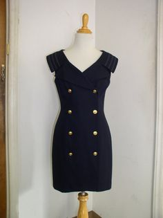 Nautical Double Breasted Navy Dress