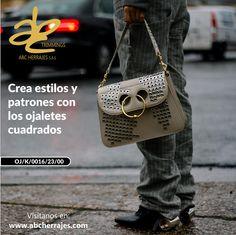 Crea #Estilos y #Patrones con los #OjaletesCuadrados. #ABCHerrajes #Marroquineria #Bolsos #Carteras #Moda #Diseño  Twitter: @abcherrajes Instagram: @abcherrajes Facebook: abcherrajes Pinterest: abcherrajes