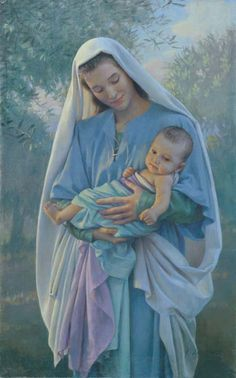 Love's Pure Light - Mother Mary and baby Jesus by artist Kathy Lawrence