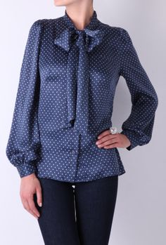 Blue Star Silk Pussy Bow Blouse -See by Chloe