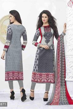 Grey & MultiColor Lawn Cotton UnStitched Straight Suit With Chiffon Dupatta