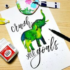 """223 Likes, 7 Comments - Essy C (@essy_creates) on Instagram: """"Thought of one of my favorite animals 🐘 for this one from #rockyourlettering! Make goals & go crush…"""""""