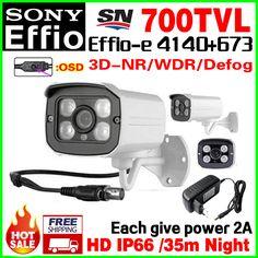 Give 2A Power!Sony CCD Effio-e 700tvL Sensor HD Color Image Cctv Camera Waterproof IP66 Infrared Array Night Vision 35m OSD Meun