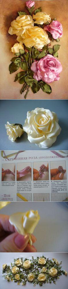 Цветы из лент. Роза. МК от Алены Кеда.