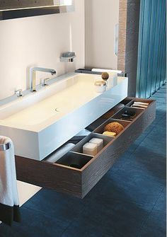 Sliding vanity drawers and trough sink Bathroom Renos, Bathroom Interior, Modern Bathroom, Bathroom Storage, Chic Bathrooms, Bathroom Ideas, Bathroom Vanities, Bathroom Designs, Bathroom Cabinets