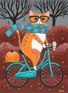 Ginger Cat Autumn Bicycle Ride Original Halloween Cat Folk Art Painting by KilkennyCat Art, Copyright © Ryan Conners I Love Cats, Crazy Cats, Gato Anime, Art Carte, Autumn Art, Autumn Painting, Painting Art, Paintings, Ginger Cats