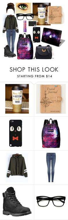 """""""Traveling home from College"""" by fuyukiba ❤ liked on Polyvore featuring JanSport, 7 For All Mankind, Timberland, ZeroUV and Maybelline"""