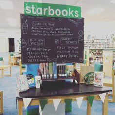 Starbooks book display, inspired by Starbucks Coffee!