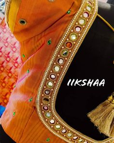 Customized Mirror Blouse from iikshaa designers❤️❤️❤️ Ping us on 8428524818 to book an appointment 🙂 Cutwork Blouse Designs, Best Blouse Designs, Simple Blouse Designs, Blouse Neck Designs, Mirror Work Blouse Design, Mirror Work Saree Blouse, Maggam Work Designs, Designer Blouse Patterns, India