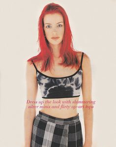 ''Dress up the look with shimmering silver minis and flirty op-art tops' -- Nineties Fashion, High Fashion, Red Hair Inspo, 90s Models, Cute Outfits For School, Grunge Girl, Looks Cool, Editorial Fashion, Style Inspiration