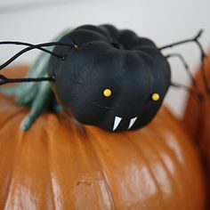 Gather a family of friendly spider pumpkins