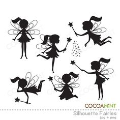 Silhouette Fairies Clip Art by cocoamint on Etsy, $5.00