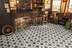 Granado Vintage Moroccan Encaustic Effect Pattern Black White Wall Floor Tiles Terrazzo, Wall And Floor Tiles, Wall Tiles, Art Deco, Star Wall, Moroccan Style, Wall Patterns, Interior Exterior, Interior Design