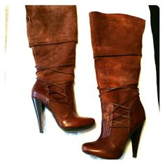 TEMPORARY SALEPre-loved Aldo Knee High Boots Still in great condition with only one small defect, which is one of the leather laces became loose and I reglued to reattach as pictured. Rich chestnut brown leather suede with chestnut leather detailing and laces. Zipper on the inside of ankle. The heel is about 4inches. True to size. ALDO Shoes Heeled Boots