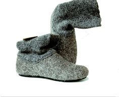 Felt wool slipper boots Gray with dark gray top - felted wool shoes with rubber soles Wedge Heel Boots, Heeled Boots, Shoe Boots, Wool Felt, Felted Wool, Two Tone Boots, Tall Winter Boots, Felt Boots, Wool Shoes