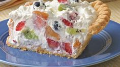 Fruit and Cream Pie ~ For a light-as-a-cloud dessert, pile whipped cream and fruit filling into a baked pie crust.