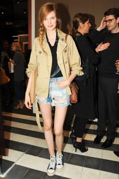 This trench is a great way to dress up sneakers and jorts!