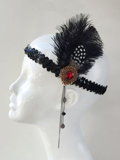 Great Gatsby Flapper inspired 1920's Red Gold & Black Feather Headband, costume headband, halloween costume, themed party, roaring 20's H166