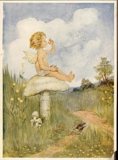 ≍ Nature's Fairy Nymphs ≍ magical elves, sprites, pixies and winged woodland faeries - Mushroom Fairy Early 20th Century