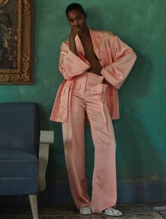 Photographed by Alvaro Beamud Cortes, the model wears pajama inspired dressing
