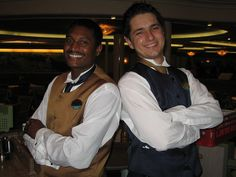 The best waiters on the cruise ship: Waiter Jermaine (from Jamaica) & Assistant Waiter Milos (from Serbia).     Do you love cruise vacations? Learn how to earn money doing what you love http://empowernetwork.com/brycewoodard