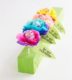 Flower Lollipops-can see putting different sentiments on each leaf, making a bouquet of them & using it for a teacher's gift