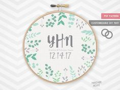 FERN WEDDING MONOGRAM counted cross stitch por PineconeMcGee