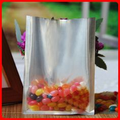 200pcs/lot 12cm*17cm*160mic High Quality Small Half Clear + Al Foil Heat Seal Flat Food Plastic Bags Wholesaler