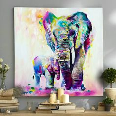 "Universe of goods - Buy ""Elephant Family Pictures Watercolor Paintings Abstract Wall Art Animal Canvas Print Arts Cuadros Decoracion Poster and Printed"" for only USD. Colorful Elephant, Elephant Art, Elephant Family, Tattoo Elephant, Baby Elephant, Elephant Watercolor, Elephant Colour, Elephant Fabric, Elephant Size"