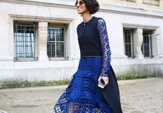 street style: Paris Fashion Week Fall 2014 (Chloe dress)...