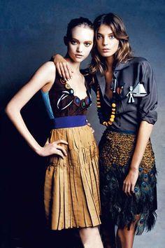 Daria Werbowy & Gemma-Ward by Patrick Demarchelier for Vogue UK