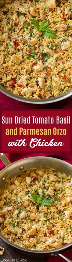 Sun Dried Tomato Basil and Parmesan Orzo with Chicken - cooked in one pan, SO easy to make, ready in 30 and so unbelievably delicious! Definitely a repeat recipe! #pastafoodrecipes