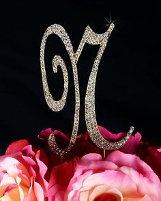 Unik Occasions Sparkling Collection Crystal Rhinestone Monogram Cake Topper - Letter N, Large, Gold ** See this great image @ : baking decorations