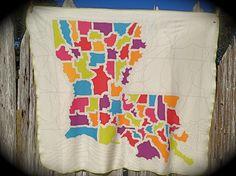 Louisiana Map Blanket- Small