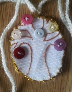 Mini Embroidered Tree with Buttons Necklace